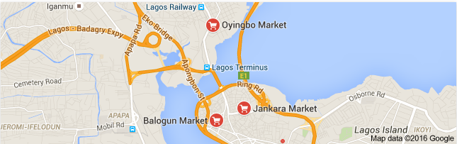Popular places in the Lagos market.
